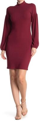 MelloDay Mock Neck Long Sleeve Ribbed Sheath Dress