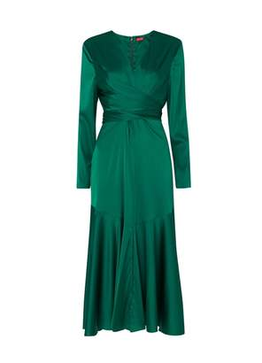 Kitri Sadie Green Silk Wrap Dress