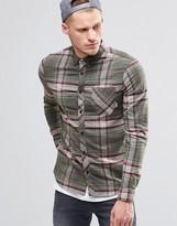 Element Buffalo Check Flannel Shirt In Regular Fit In Moss Green Buttondown