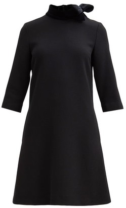 Goat Kensington Bow-trim Wool-crepe Shift Dress - Black