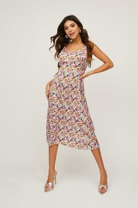 Little Mistress Huni Floral-Print Satin Lace-Up Midi Slip Dress