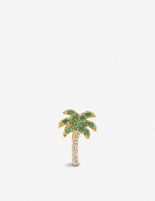 Roxanne First Rocky's Palm Tree 14ct yellow-gold and diamond stud