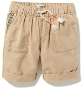 Old Navy Linen-Blend Embroidered-Pocket Midi Shorts for Girls