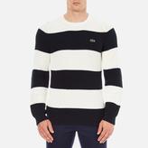 Lacoste Men's Crew Neck Stripe Sweatshirt Navy Blue/Flour