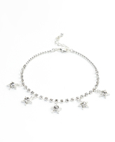 Crystal & Silvertone Star Charm Anklet