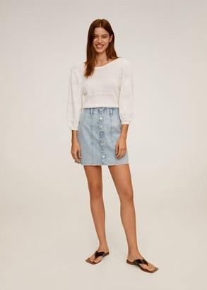 MANGO Buttoned denim skirt medium blue - XS - Women