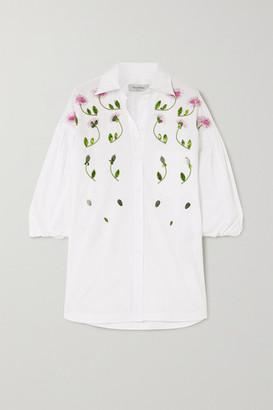 Valentino Oversized Embellished Cotton-poplin Blouse - White