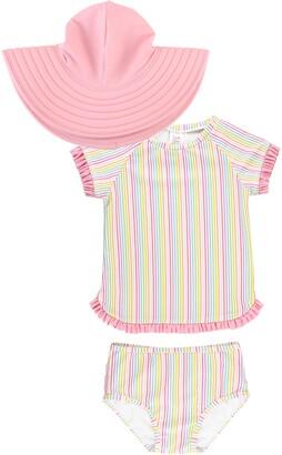 RuffleButts Kids' Rainbow Stripe Two-Piece Rashguard Swimsuit & Floppy Sun Hat Set