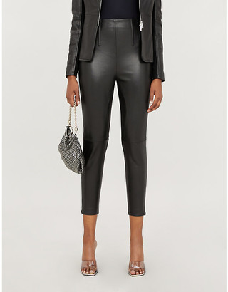 Pinko Macinare high-rise leather and stretch-jersey trousers