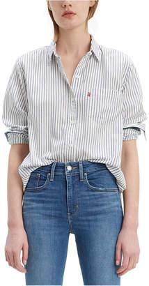 Levi's Women Striped Cotton Double-Button Shirt