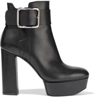 Casadei + Elena Perminova Loca Buckled Leather Platform Ankle Boots