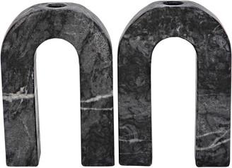 Noir Corinth Set Of 2 Decorative Candle Holders