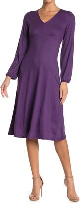 Velvet Torch V-Neck Knit Midi Dress