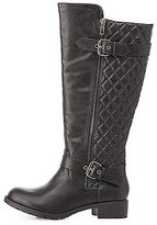 Charlotte Russe Quilted Knee-High Riding Boots