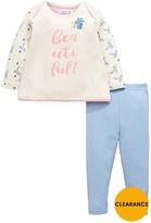 Ladybird Baby Girls Floral Slogan Sweat Top And Leggings Set