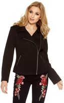 Quiz Black Textured Biker Jacket