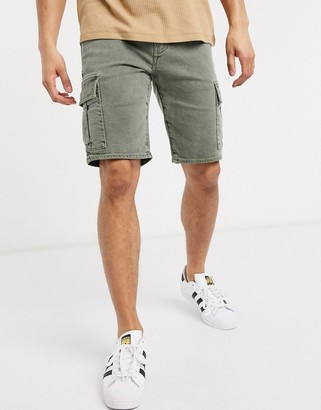 Levi's Youth cargo shorts in tortilla washed green