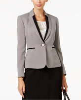 Kasper Petite Houndstooth-Print One-Button Blazer