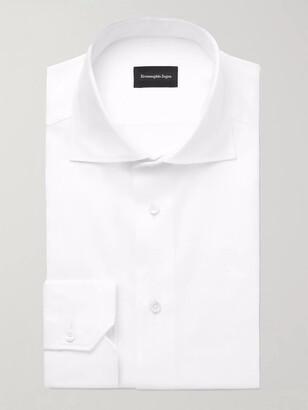 Ermenegildo Zegna White Cutaway-Collar Cotton Oxford Shirt