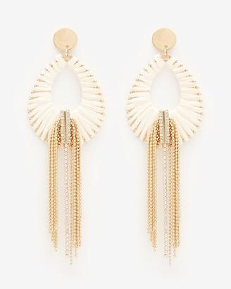 Express Raffia Wrap Chain Fringe Teardrop Earrings
