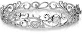 Effy Jewelry Pave Classica 14K White Gold Diamond Filigree Bangle