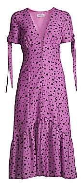 DELFI Collective Women's Yvette Tie-Sleeve Heart Midi Dress