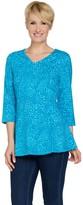 Denim & Co. Animal Print 3/4 Sleeve V-Neck Fit & Flare Tunic Top