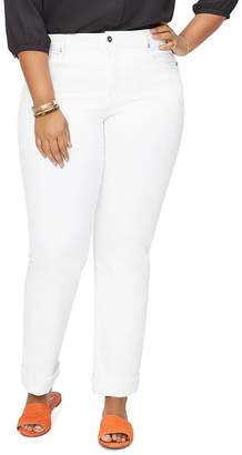 NYDJ Plus Marilyn Straight-Leg Cuffed Ankle Jeans in Optic White