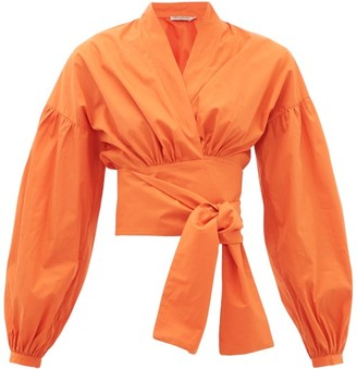 Three Graces London Greta Balloon-sleeve Cotton-poplin Wrap Blouse - Orange