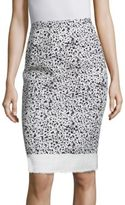 Carolina Herrera Spatter-Print Tweed Pencil Skirt