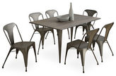 Monarch Distressed Brown and Bronze Metal Dining Table