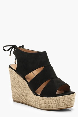 boohoo Cut Work Detail Espadrille Wedges
