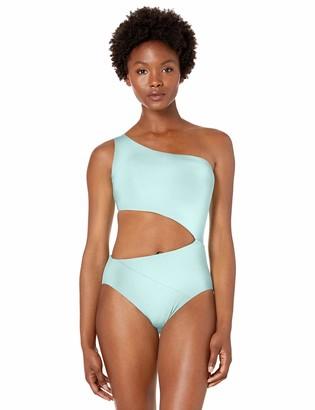 BCBGMAXAZRIA Women's Shoulder Cutout One Piece Solid Color Swimsuit
