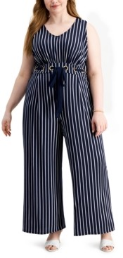 Love Squared Trendy Plus Size Striped Jumpsuit
