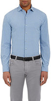 Barneys New York MEN'S WINDOWPANE-CHECKED SHIRT-PURPLE SIZE S