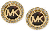 Michael Kors Gold-Tone Tortoise and Pave Logo Stud Earrings