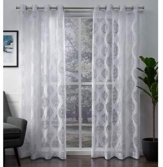 Mid-Century MODERN Exclusive Home Birmingham Medallion Sheer Burnout Grommet Top Window Curtain Panel Pair White