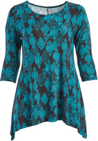 Glam Black & Green Abstract Sidetail Tunic - Plus