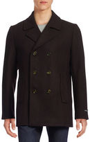 Ted Baker London Wool-Blend Diagonal-Weave Peacoat