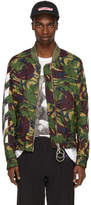 Off-White Green Diagonal Camouflage Bomber Jacket