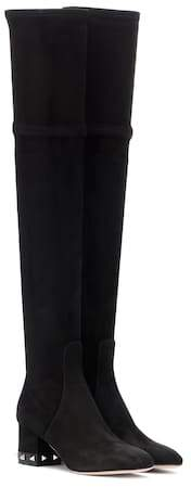 Valentino Rockstud suede over-the-knee boots
