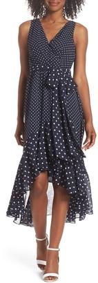 Brinker & Eliza Polka Dot High/Low Hem Midi Dress (Petite)