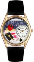 Whimsical Watches Women's C0640010 Classic Gold Kindergarten Teacher Black Leather And Goldtone Watch