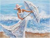"""Iicart Inc """"Beach Winds"""" Hand Painted Canvas Art, 48""""x36"""""""