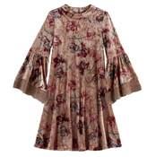 My Michelle Girls 7-16 Rose Pattern Velvet Bell Sleeve Dress