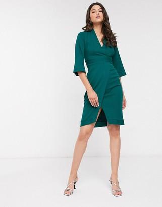 Closet London Closet paneled wrap dress in forest green