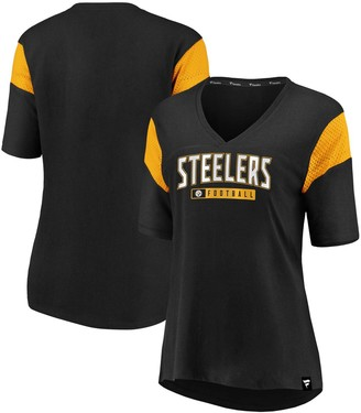 Women's NFL Pro Line by Fanatics Branded Black Pittsburgh Steelers Iconic Mesh Piecing V-Neck T-Shirt