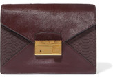 Michael Kors Calf Hair, Snake-Effect Leather And Leather Clutch