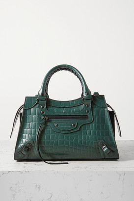 Balenciaga Classic City Small Croc-effect Leather Tote - Green