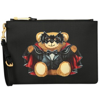 Moschino Saffiano Leather Clutch With Bat Teddy Print